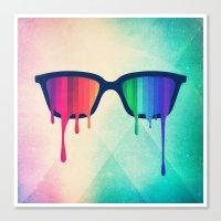 Love Wins! Rainbow - Spectrum (Pride) / Hipster Nerd Glasses Canvas Print