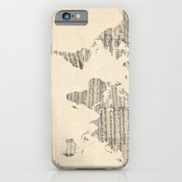 iPhone Cases featuring Old Sheet Music World Map by artPause