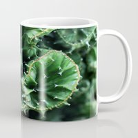 Emerald green Cactus Botanical Photography, Nature, Macro, Mug