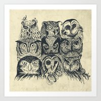 owls Art Prints featuring Nine Owls by Rachel Caldwell