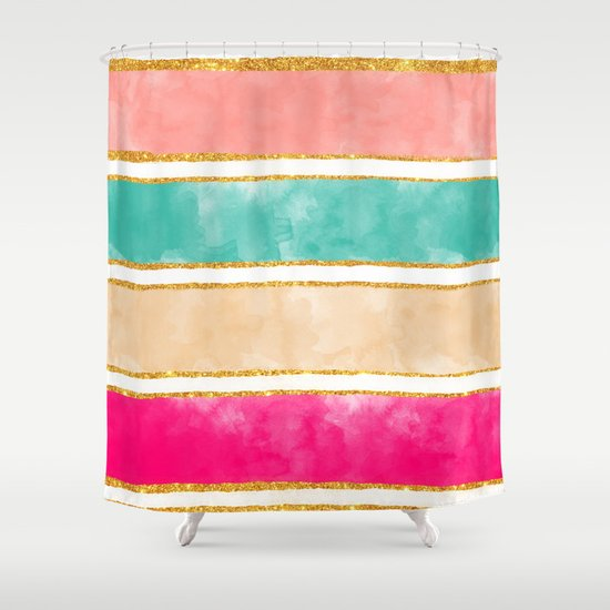 Modern Stripes Pink Red Watercolor Gold Glitter Shower Curtain By Girly Trend Society6
