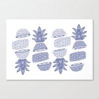 Pineapples (Light/Sliced) Canvas Print