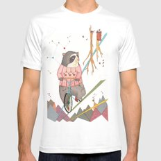 Bear in bicycle White Mens Fitted Tee SMALL