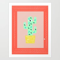 Green Cactus Within A Re… Art Print