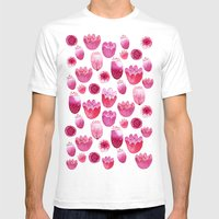 Fancy Pink Flowers Mens Fitted Tee White SMALL