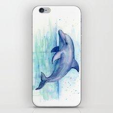 Dolphin Watercolor Sea Creature Art iPhone & iPod Skin