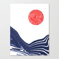 Furoshi - spilled ink marble water wave painting sun sea waves water aqua seaside abstract minimal  Canvas Print