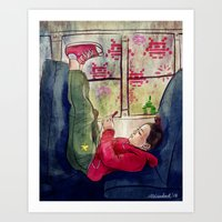 Girls & Video Games Art Print
