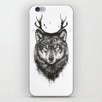 Deer wolf (b&w) iPhone & iPod Skin