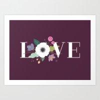 Floral Love - In Plum Art Print