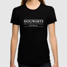Hogwarts School of Witchcraft & Wizardry (Black) Womens Fitted Tee Black SMALL