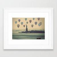 Balloons over Lady Liberty Framed Art Print