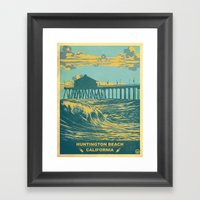 Vintage Huntington Beach… Framed Art Print