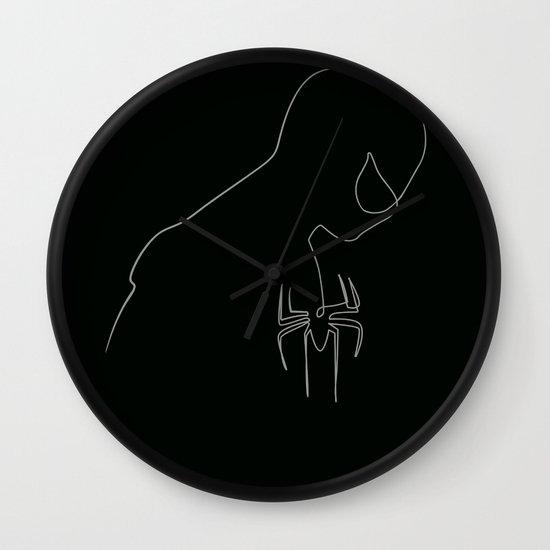 One line Black Spider Man Wall Clock