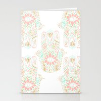 Modern girly pink mint gold Hamsa hand of fatima Stationery Cards