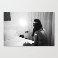 night-time hotel room portrait Canvas Print