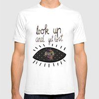 Look Up And Get Lost  Mens Fitted Tee White SMALL