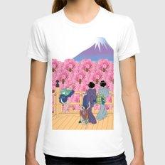 Hokusai People Seeing Sakura and Mt.Fuji  Womens Fitted Tee White SMALL
