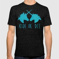 Ride or Die x Unicorns x Turquoise Mens Fitted Tee Tri-Black SMALL