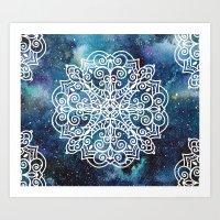 Mandala And Nebula Art Print
