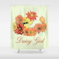daisy girl. orange, yellow daisy flowers photo art.  Shower Curtain