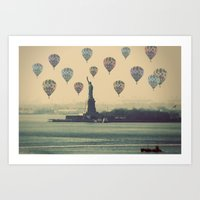 Balloons over Lady Liberty Art Print
