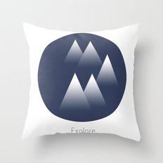 Explore/Mountains Throw Pillow