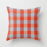 Pixel Plaid - Autumn Bark Throw Pillow