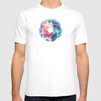 Geometry Triangle Wave Multicolor Mosaic Pattern - (HDR - Low Poly Art) Mens Fitted Tee White SMALL
