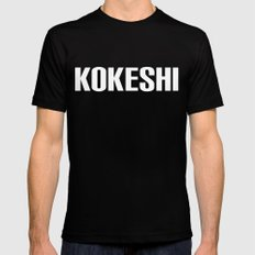KOKESHI FONT WHITE Mens Fitted Tee Black SMALL