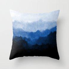 Mists - Blue Throw Pillow