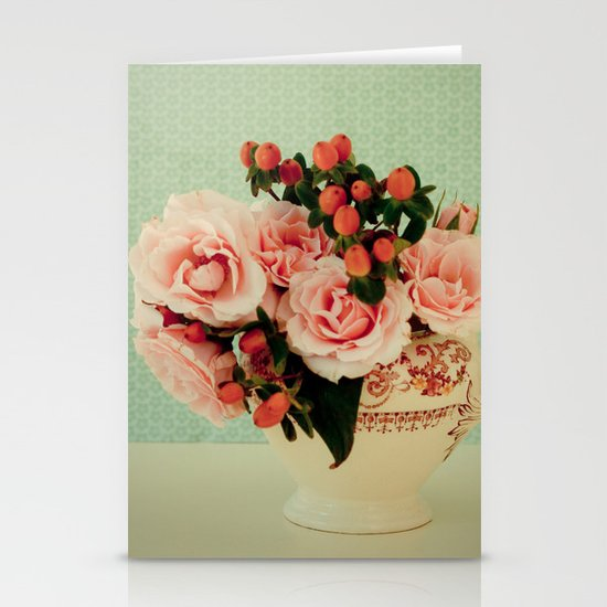 Little Pink Roses Stationery Card