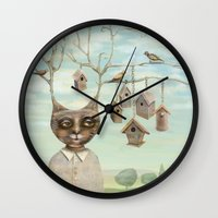 Bird Houses Wall Clock