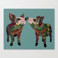 pig love jade Canvas Print