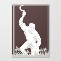 Farmer Harvesting Wheat … Canvas Print