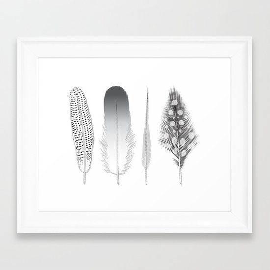 Feathers Trio Framed Art Print