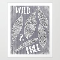 Wild & Free Feathers. White & Grey Edition Art Print