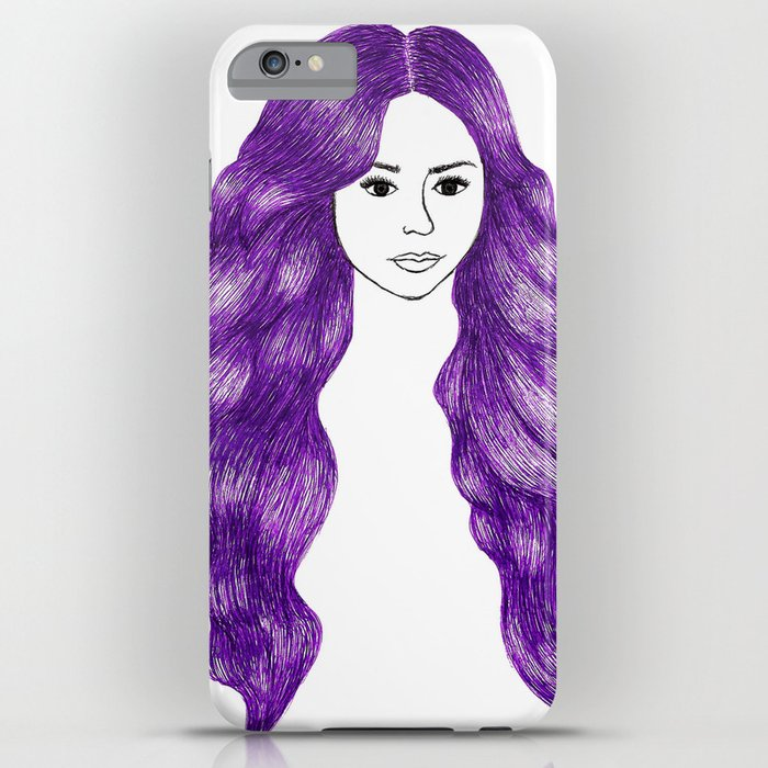 purple hair girl drawing fashion illustration iphone 6s case