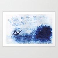 Blue tides Art Print