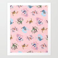 Sailor Kitties Pink Patt… Art Print