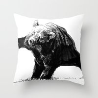 The Big Bad Bear by Chuchuligoff Throw Pillow