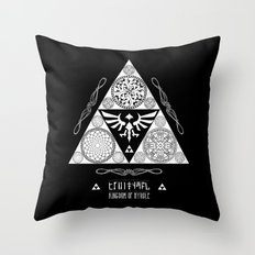 Legend of Zelda Kingdom of Hyrule Crest Letterpress Vector Art Throw Pillow
