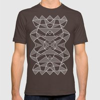 Abstraction Lines Mirror… Mens Fitted Tee Brown SMALL