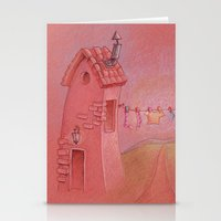 Houses in the sunset Stationery Cards