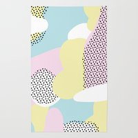 Candy Pink Blue Blobs & Dots Pattern Rug