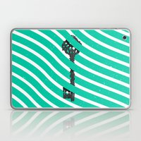 Teal White Zig Zag Stripes Pattern Black Wood Key Laptop & iPad Skin
