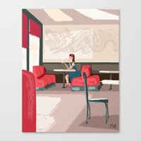 Sipping Green Tea At The… Canvas Print