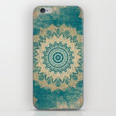 GOLD BOHOCHIC MANDALA IN GREENS iPhone & iPod Skin