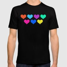 Bright hearts SMALL Black Mens Fitted Tee