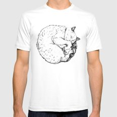 Sleepy Kitty SMALL Mens Fitted Tee White